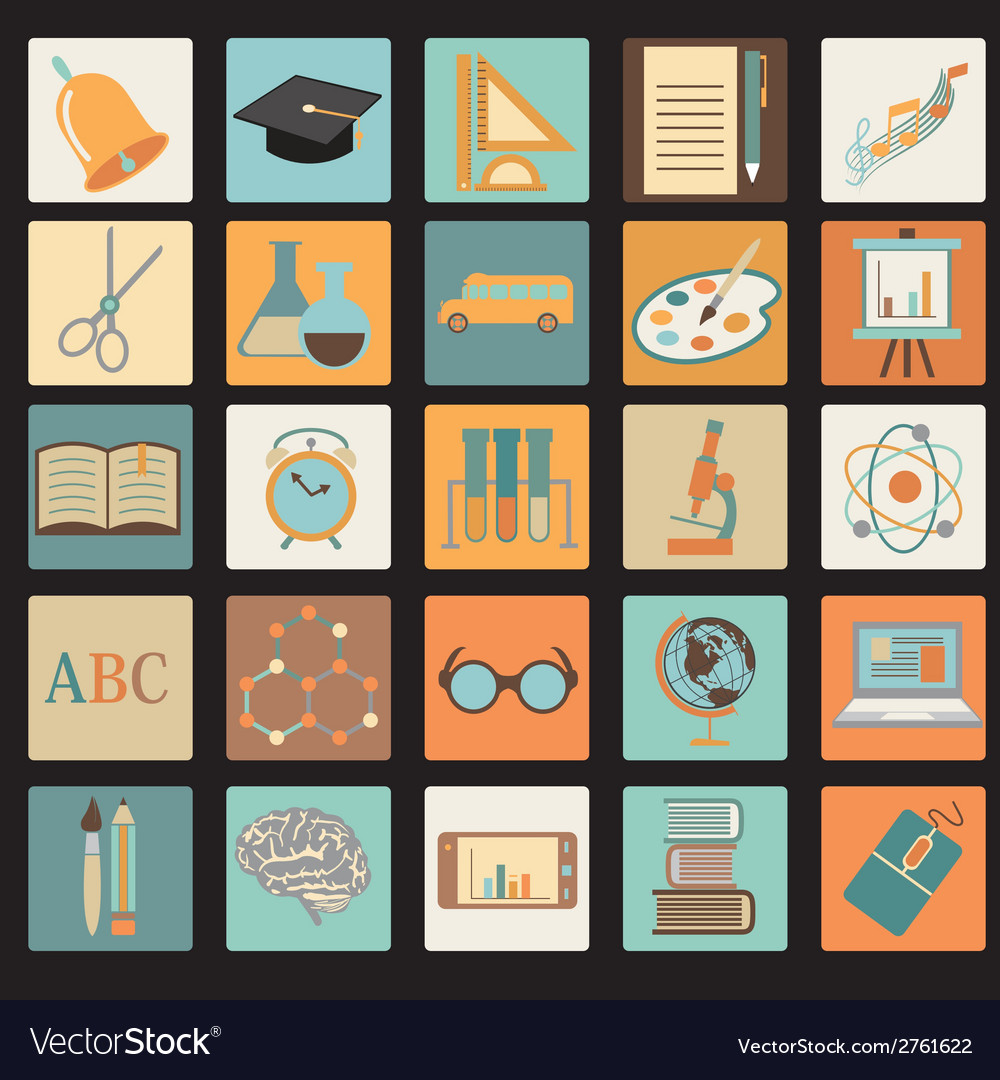 Education school flat icon set vector | Price: 1 Credit (USD $1)