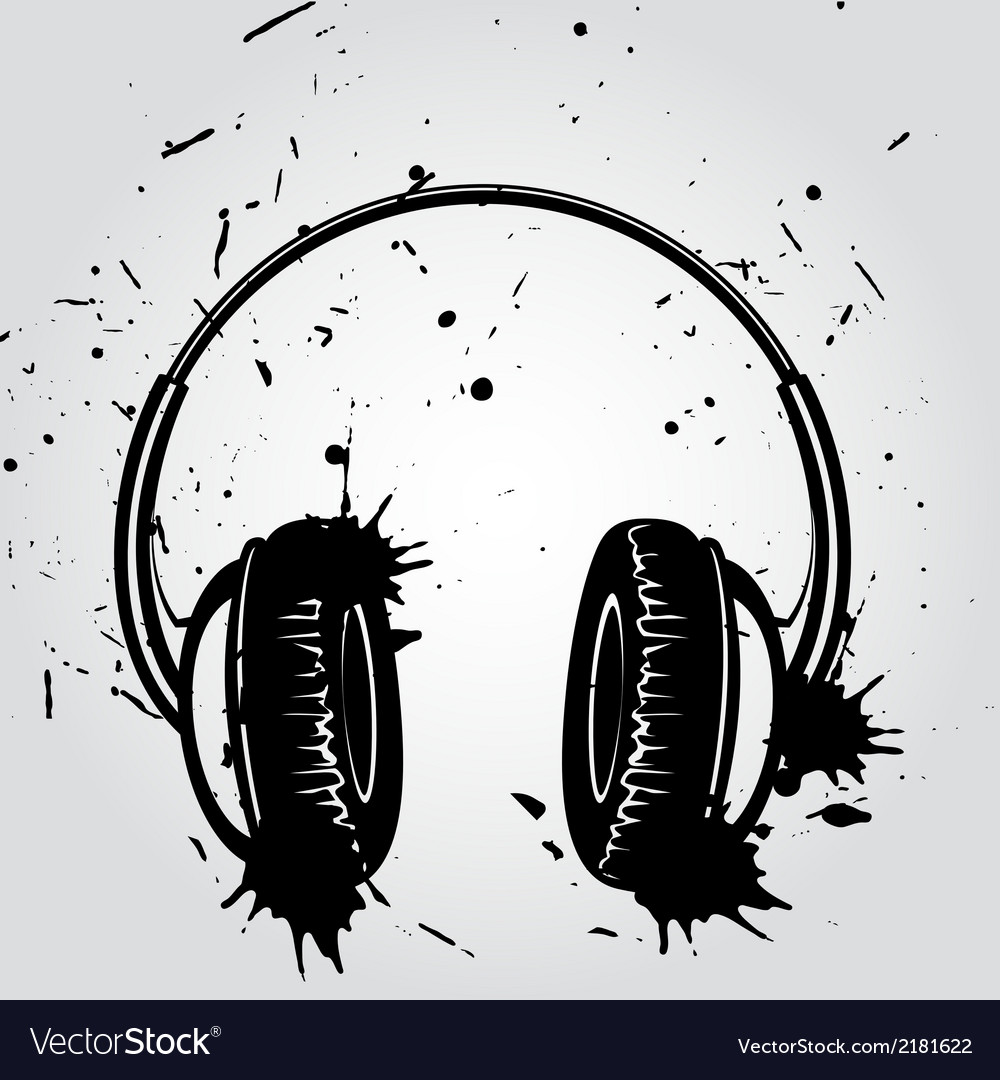 Headphones grunge style vector | Price: 1 Credit (USD $1)