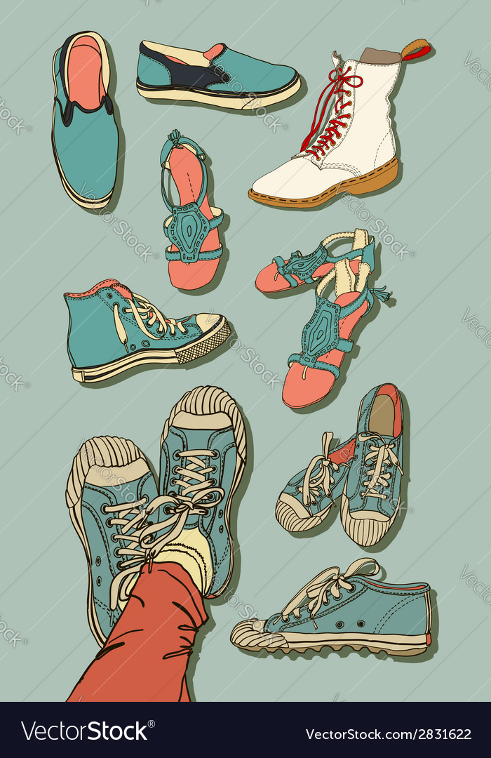 Set of cartoon shoes vector | Price: 1 Credit (USD $1)