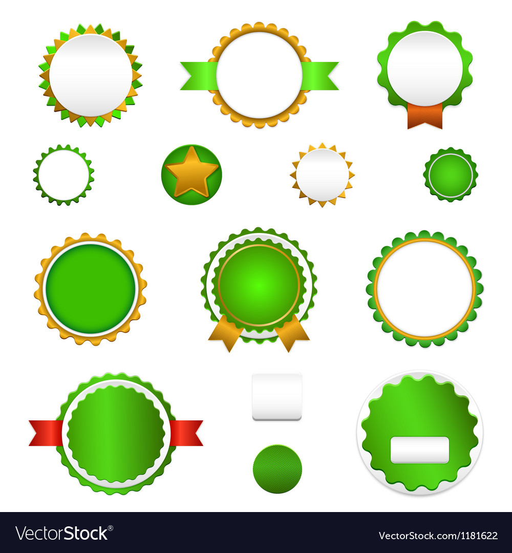 Set of sale badges labels and stickers in green vector | Price: 1 Credit (USD $1)