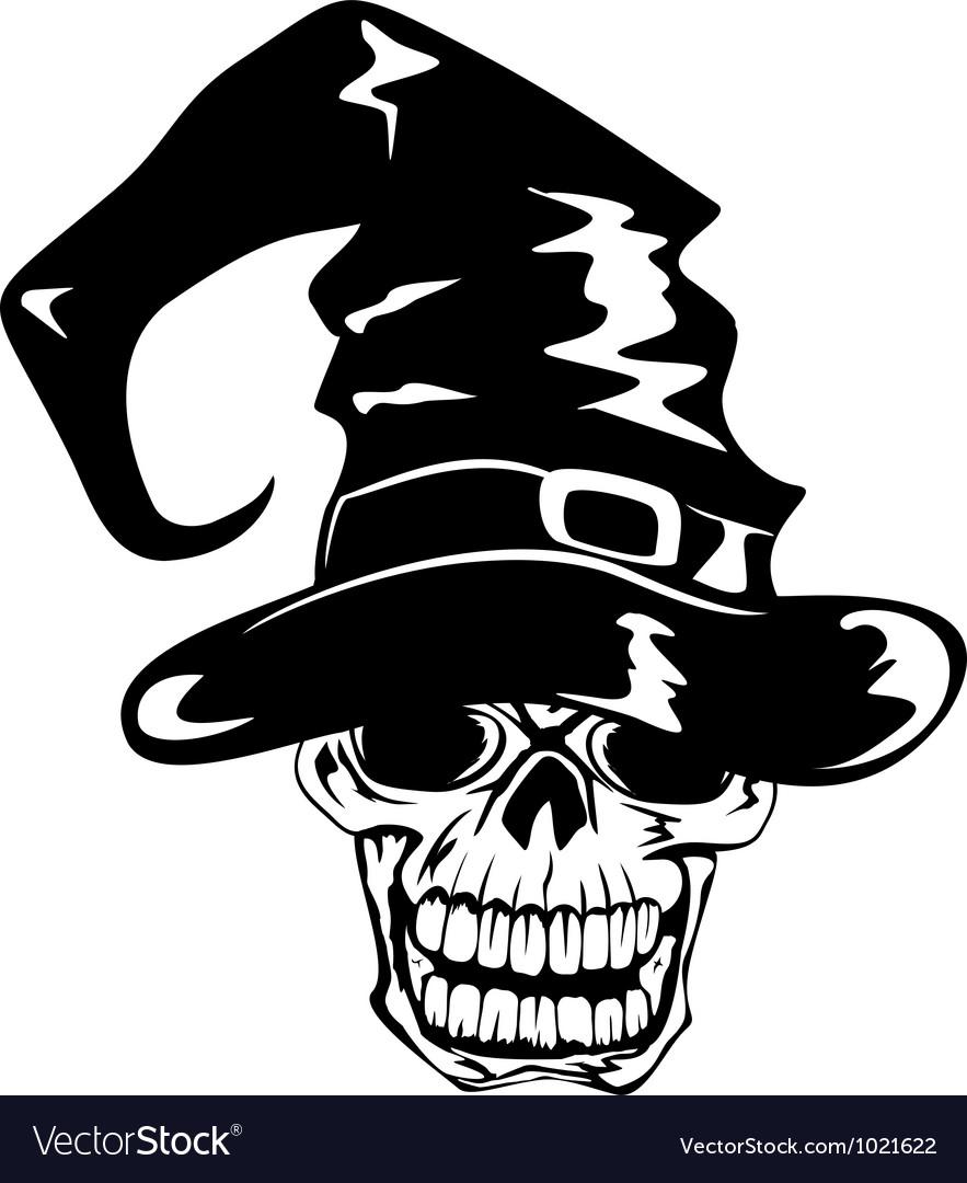 Skull in halloween hat vector | Price: 1 Credit (USD $1)