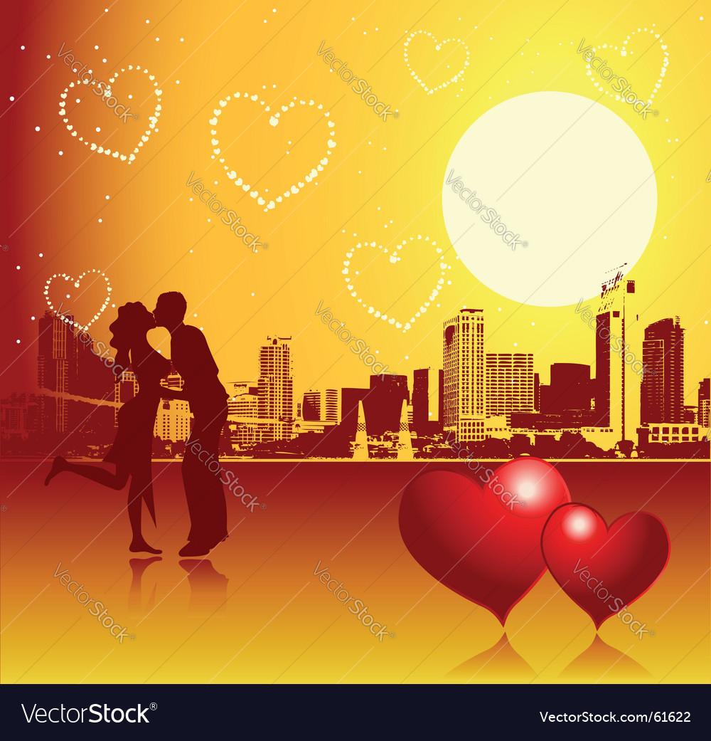 Valentine day urban scene couple vector   Price: 1 Credit (USD $1)