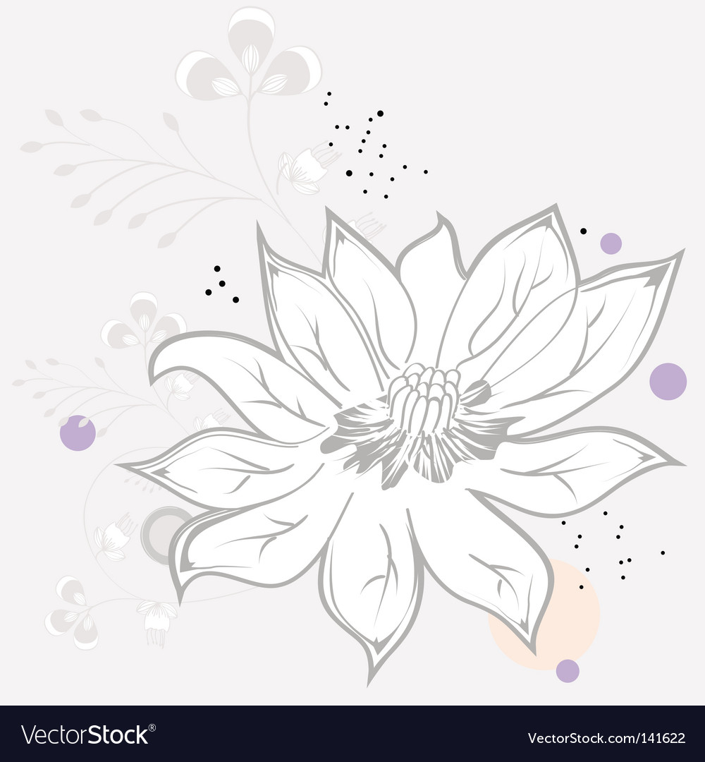 White flower on grey background vector | Price: 1 Credit (USD $1)