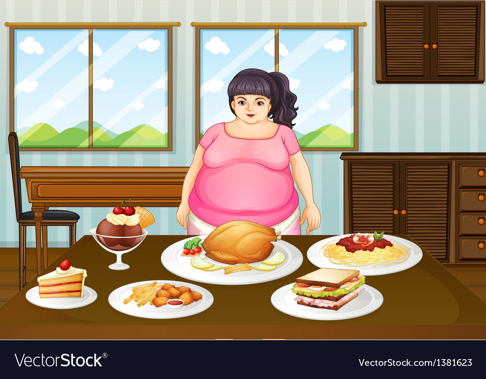 A fat lady in front of a table full of foods vector | Price: 1 Credit (USD $1)