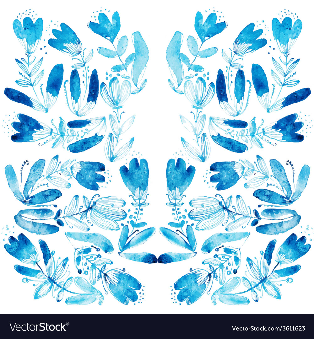 Blue watercolor flowers edging vector | Price: 1 Credit (USD $1)