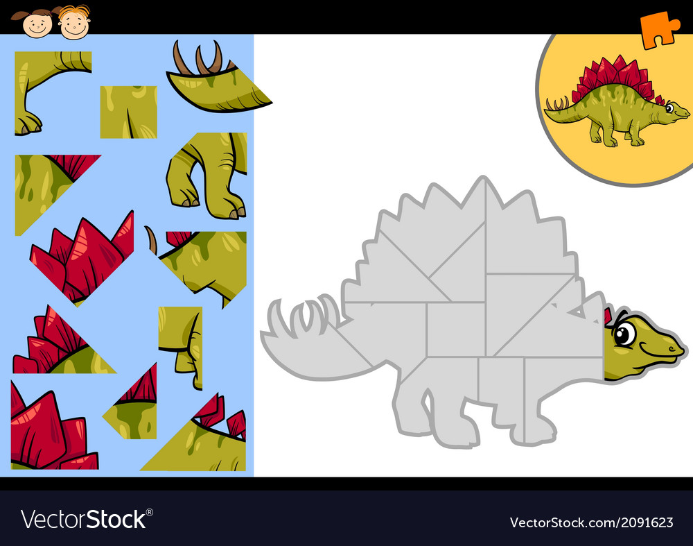 Cartoon dinosaur jigsaw puzzle game vector | Price: 1 Credit (USD $1)
