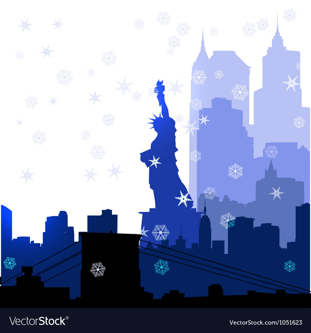 Christmas new york silhouettes vector | Price: 1 Credit (USD $1)