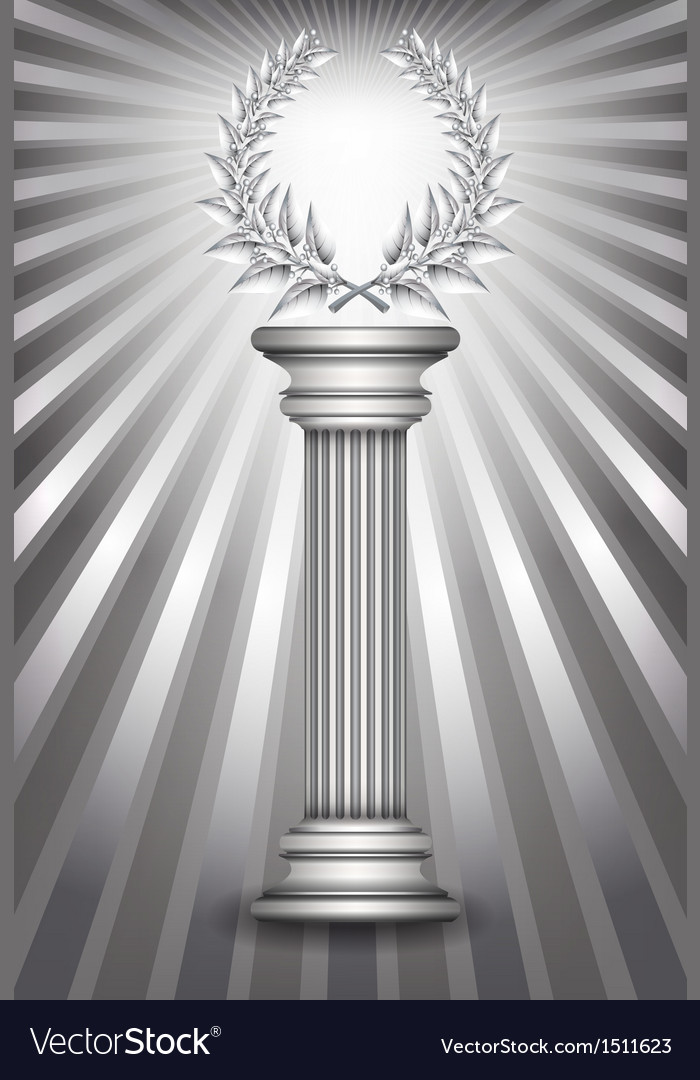 Column laurel silver vector | Price: 1 Credit (USD $1)