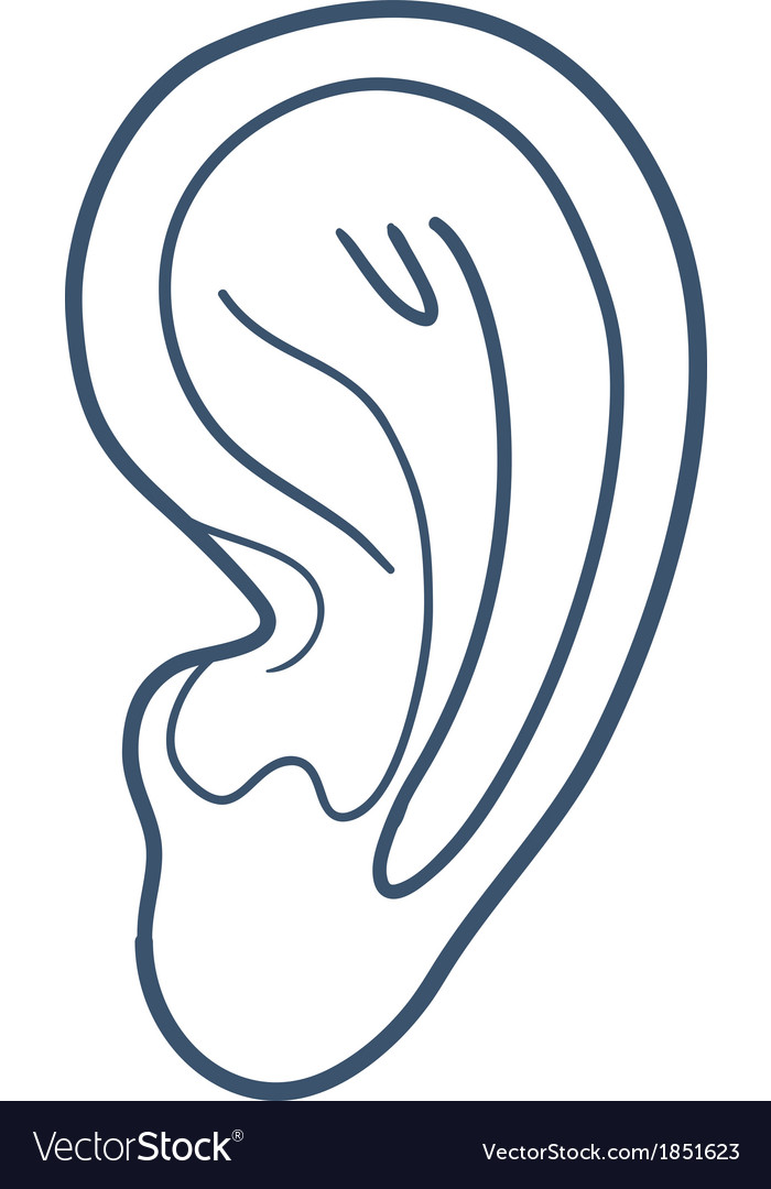 Ear hearness symbol isolated on white vector | Price: 1 Credit (USD $1)