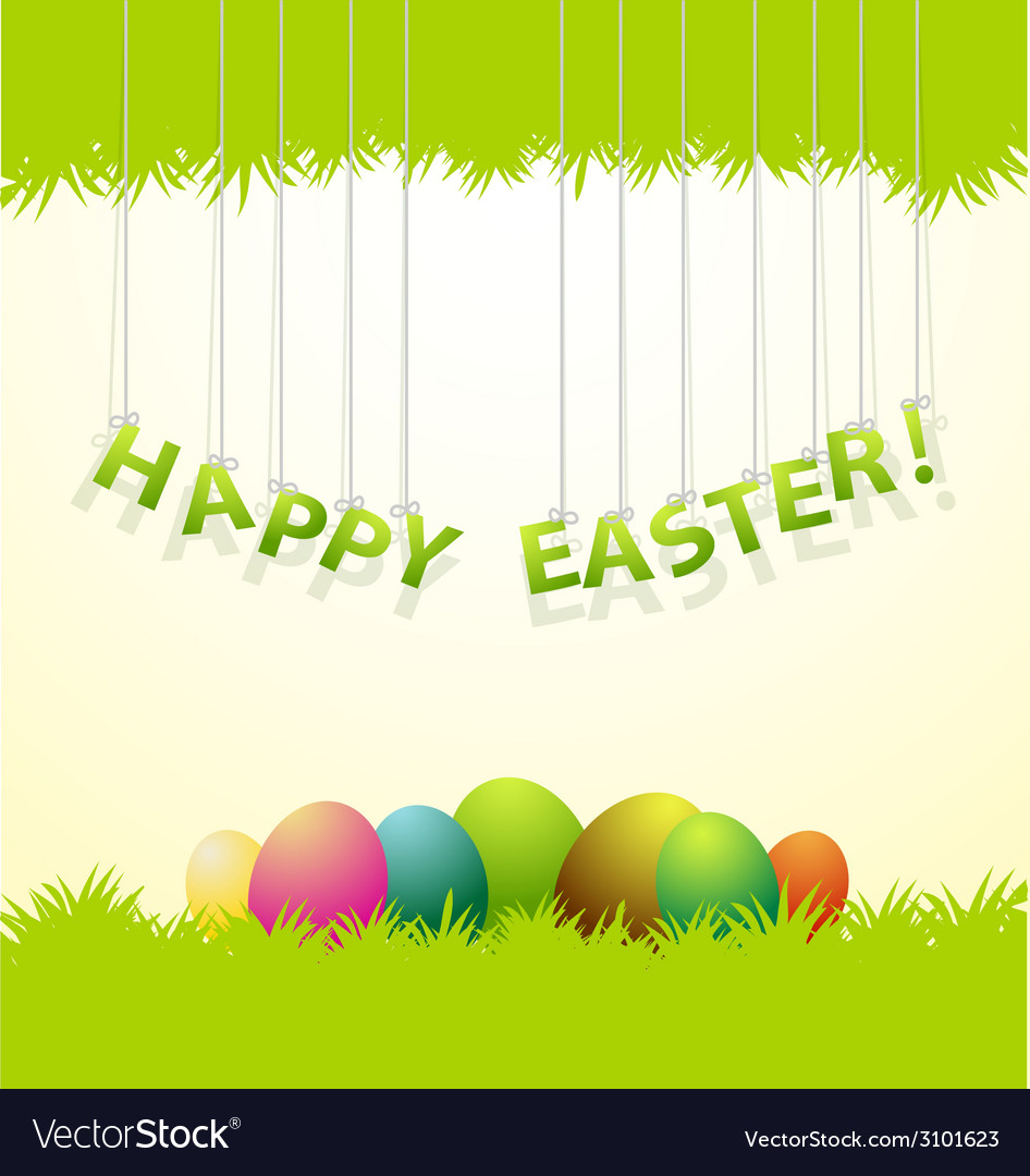 Easter colored eggs greeting card vector | Price: 1 Credit (USD $1)
