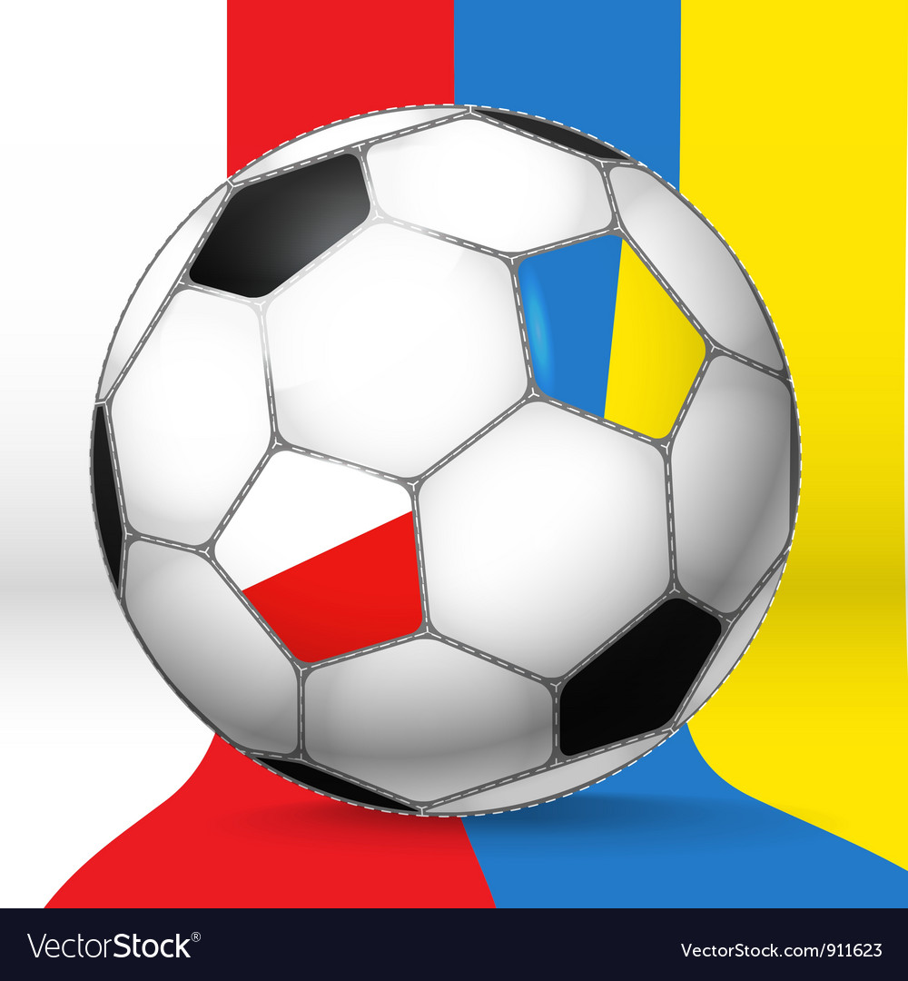 Football ball with poland and ukraine flags vector | Price: 3 Credit (USD $3)