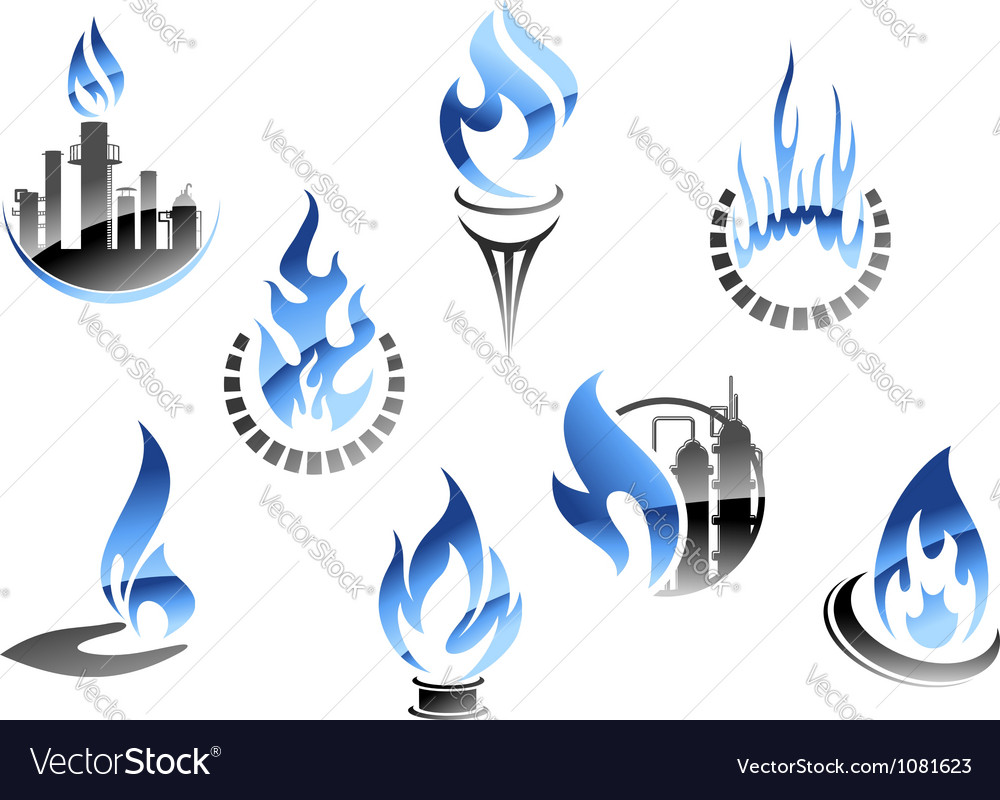 Gas and oil industry symbols in glossy style vector | Price: 1 Credit (USD $1)