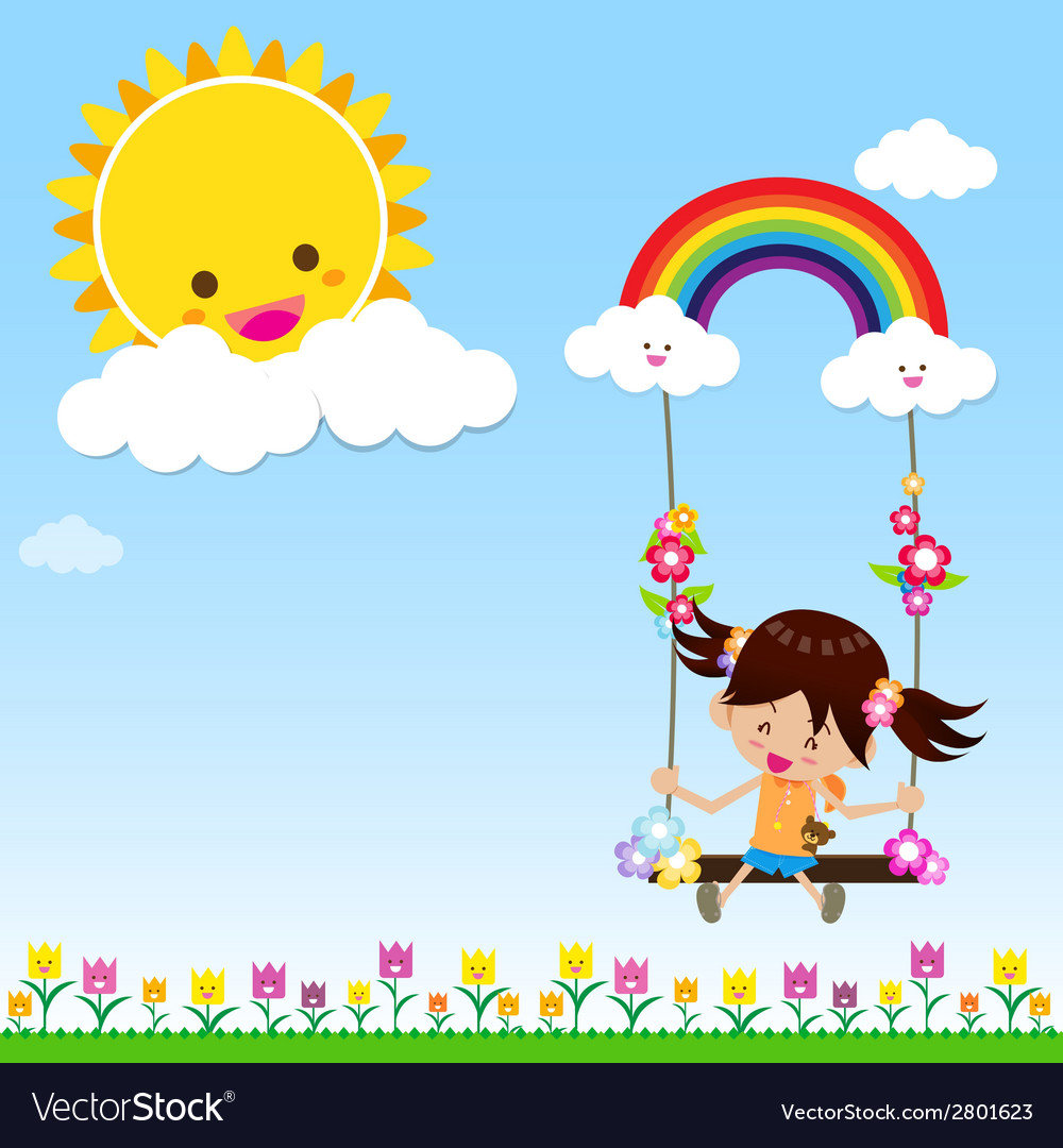 Girl with sun rainbow and cloud 002 vector | Price: 1 Credit (USD $1)
