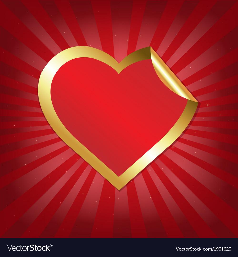 Golden heart sticker with sunburst vector | Price: 1 Credit (USD $1)