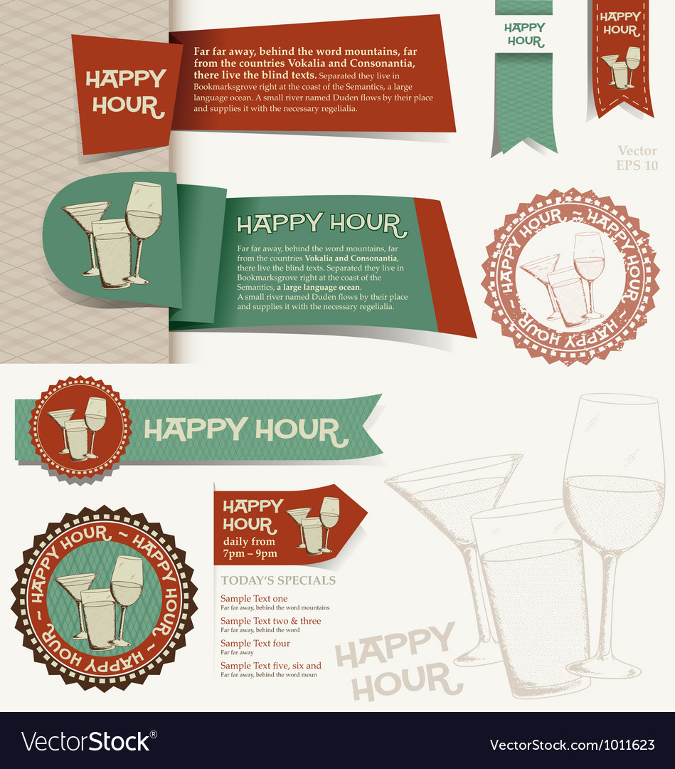 Happy hour collection vector | Price: 1 Credit (USD $1)