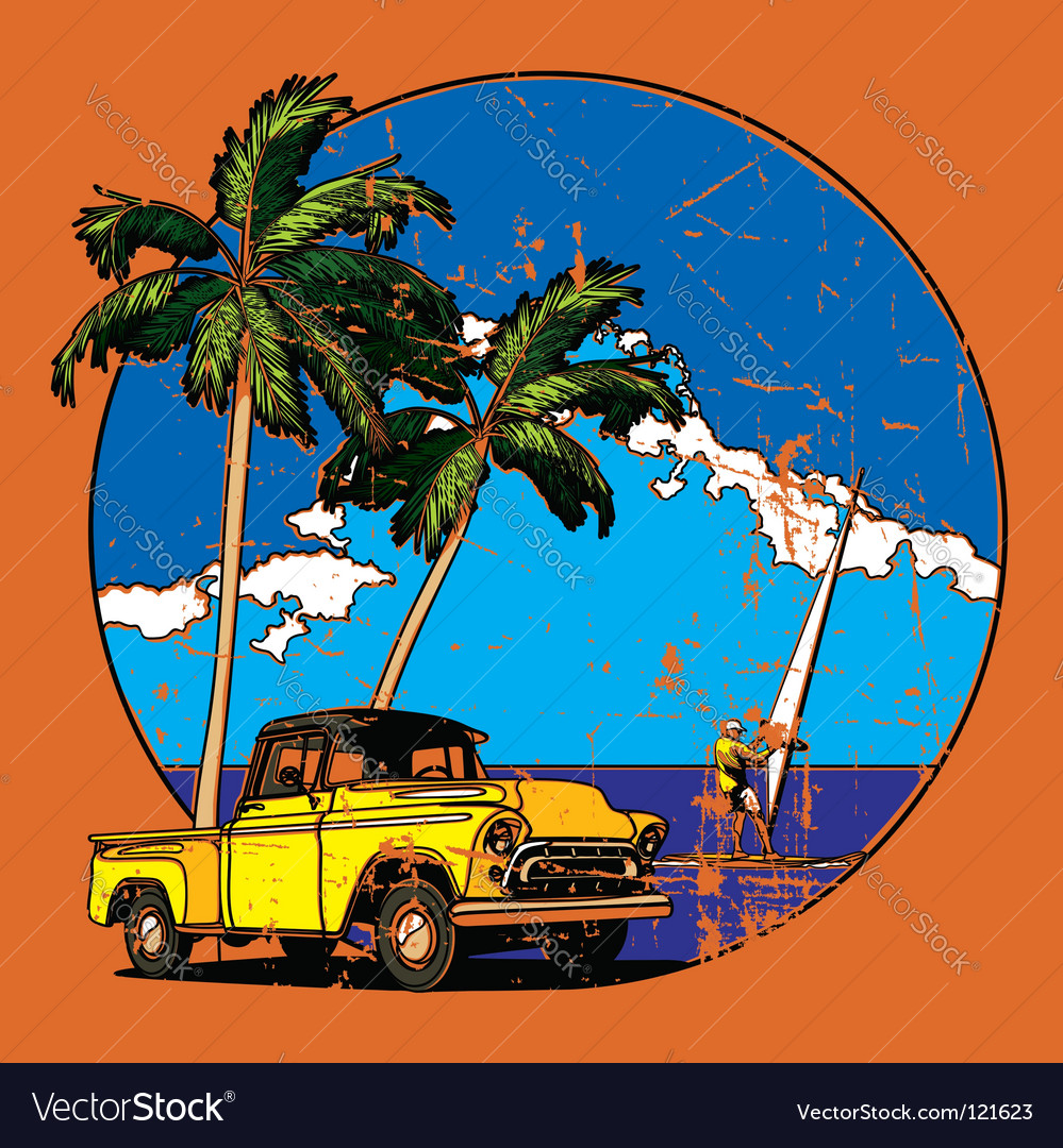 Hawaiian grunge scene vector | Price: 1 Credit (USD $1)