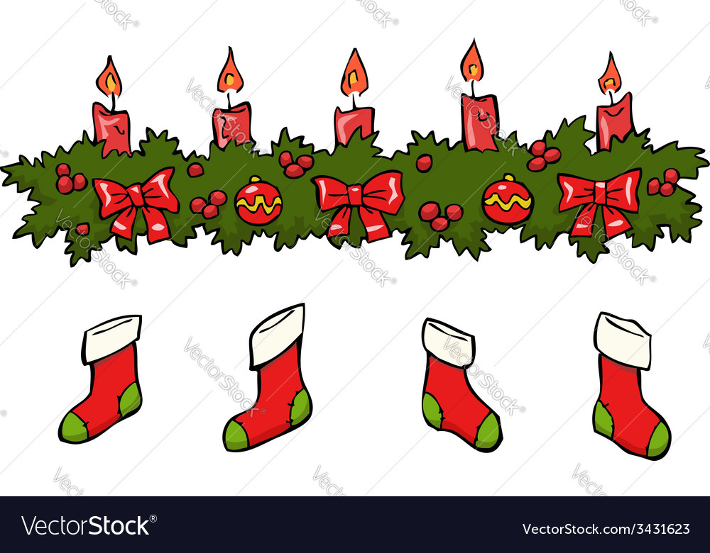 Holly berry candle socks vector | Price: 1 Credit (USD $1)