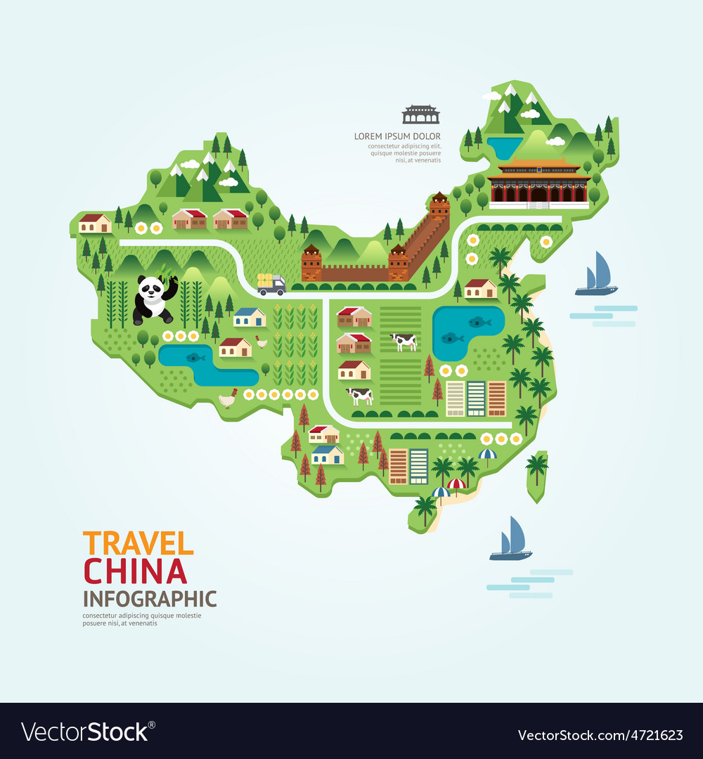 Infographic travel and landmark china map shape vector | Price: 3 Credit (USD $3)