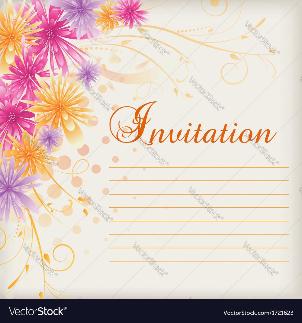 Invitation floral vector | Price: 1 Credit (USD $1)