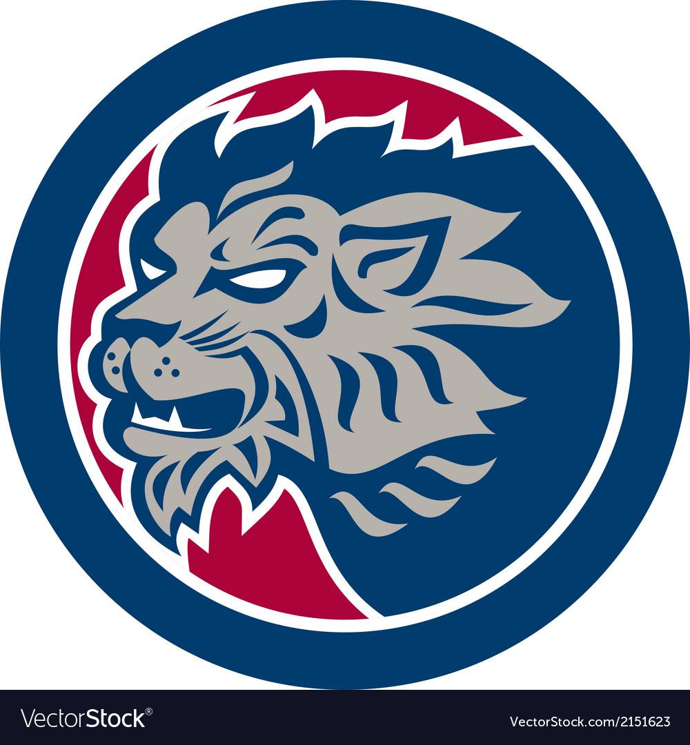 Lion head side retro circle vector | Price: 1 Credit (USD $1)
