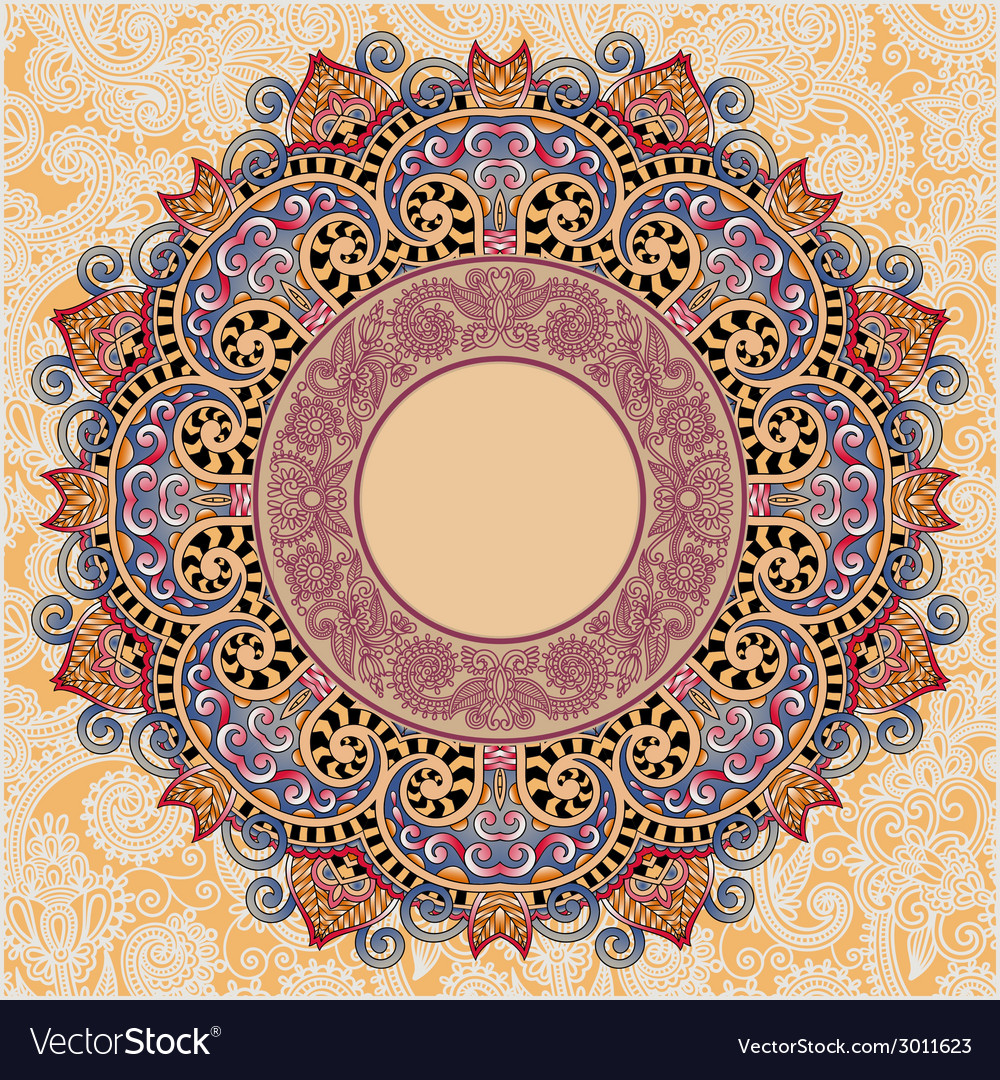 Ornamental template with circle floral background vector   Price: 1 Credit (USD $1)