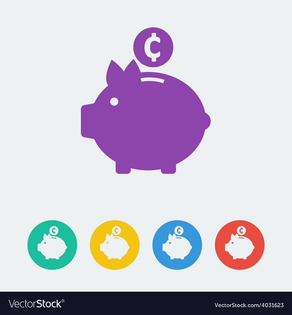 Piggy bank flat circle icon vector | Price: 1 Credit (USD $1)