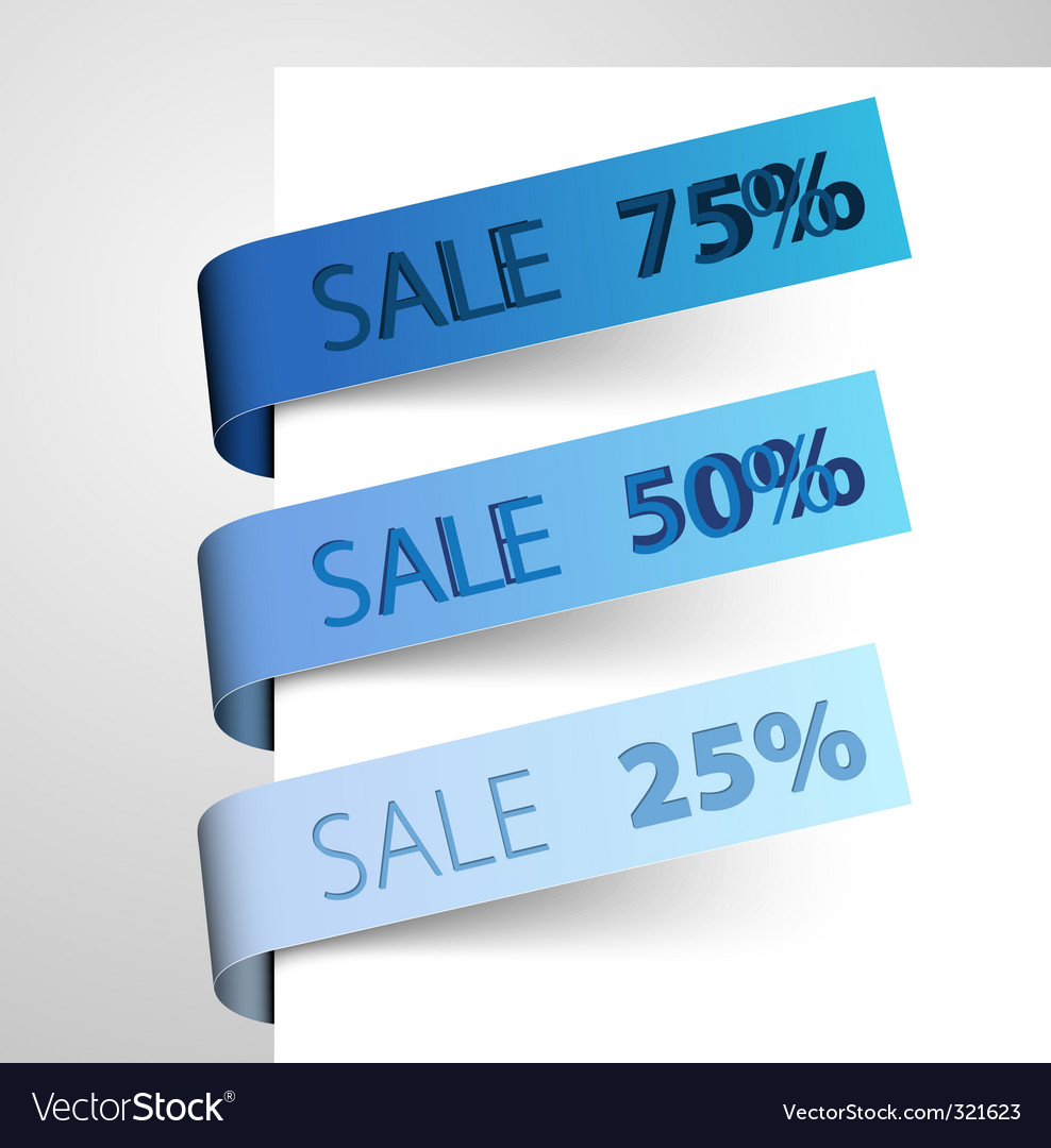 Set of blue paper tags vector | Price: 1 Credit (USD $1)