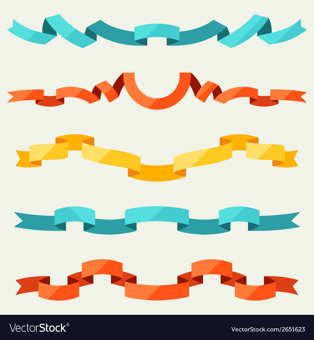 Set of ribbons for decoration in flat design style vector | Price: 1 Credit (USD $1)