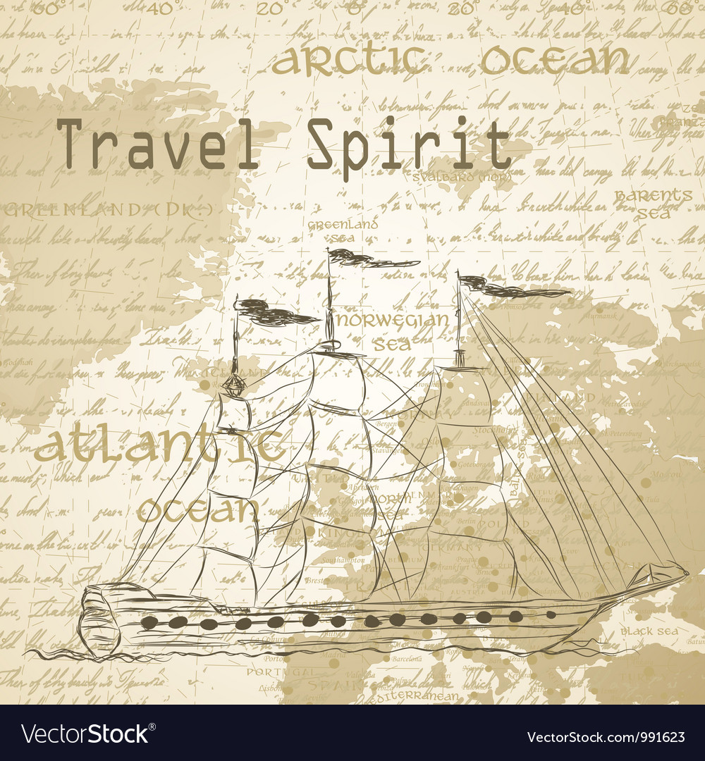 Travel background with vintage map and handwritten vector | Price: 1 Credit (USD $1)