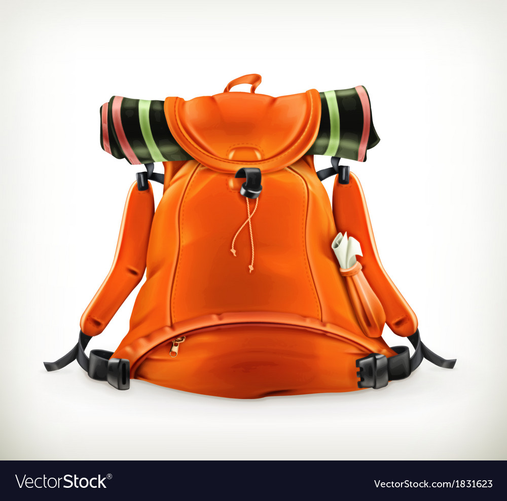 Travel backpack orange vector | Price: 1 Credit (USD $1)