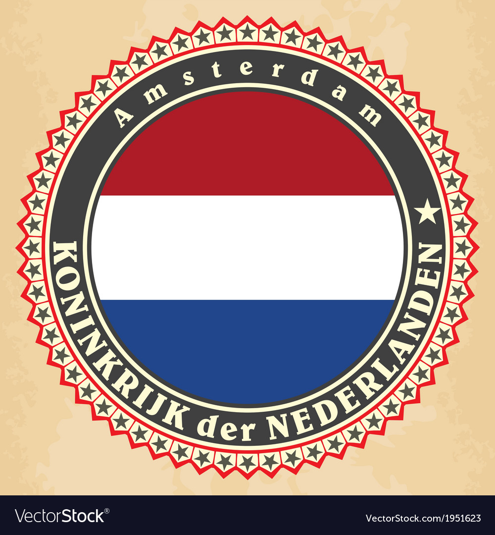 Vintage label cards of netherlands flag vector | Price: 1 Credit (USD $1)
