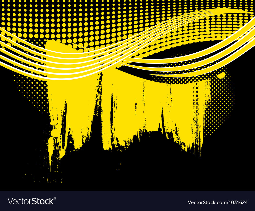 Abstract retro yellow wave background vector | Price: 1 Credit (USD $1)