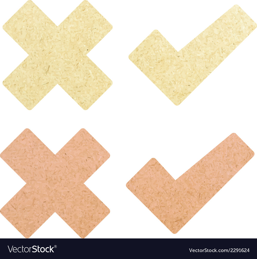 Check mark recycled paper stick on white backgroun vector | Price: 1 Credit (USD $1)