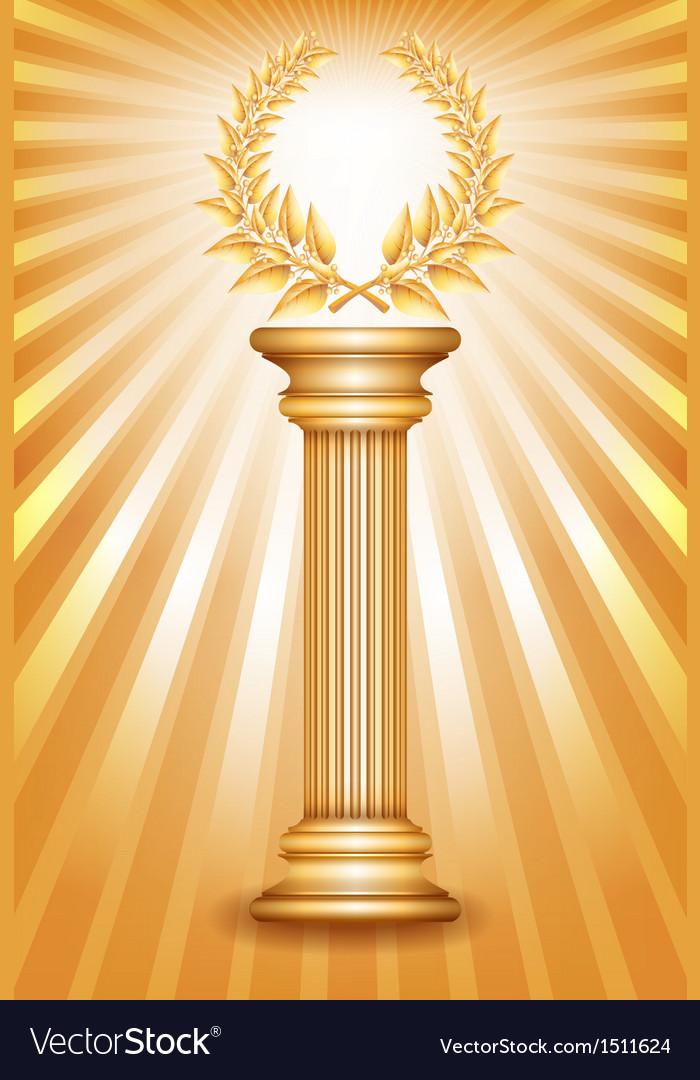 Column laurel gold vector | Price: 1 Credit (USD $1)
