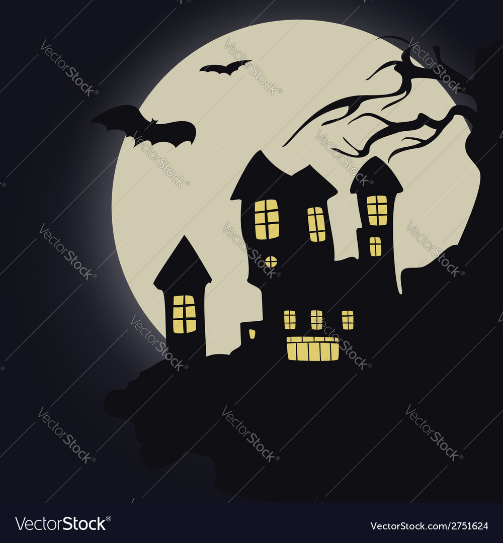 Dark castle halloween vector | Price: 1 Credit (USD $1)