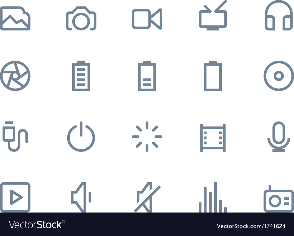 Multimedia icons line vector | Price: 1 Credit (USD $1)