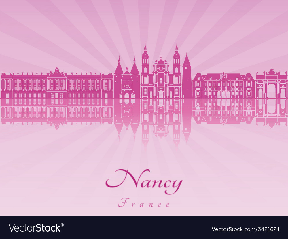 Nancy skyline in purple radiant orchid vector | Price: 1 Credit (USD $1)