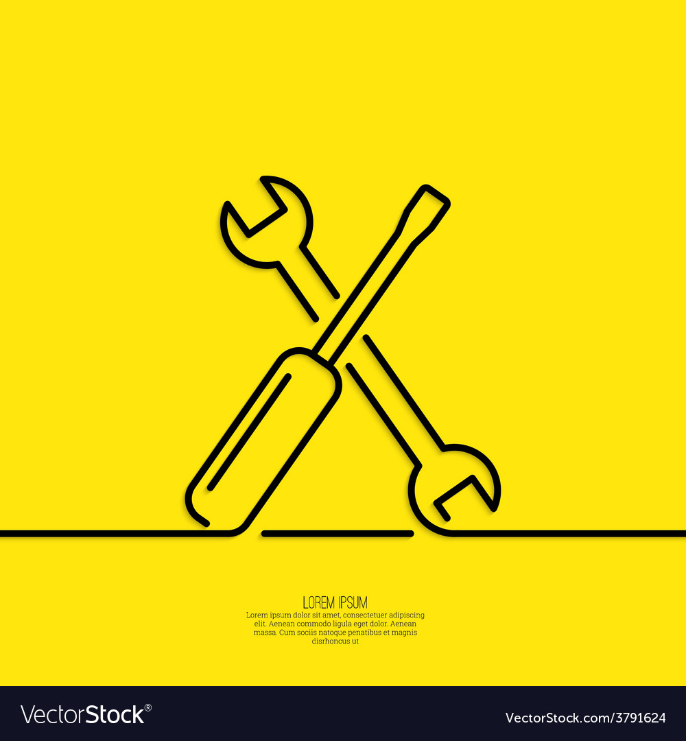 Screwdriver and spanner vector