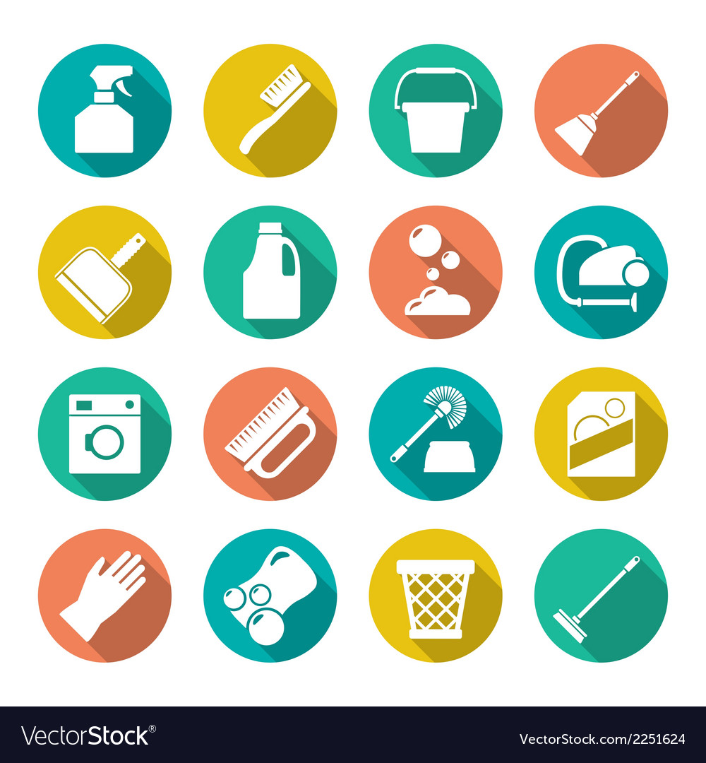 Set flat icons of cleaning vector | Price: 1 Credit (USD $1)