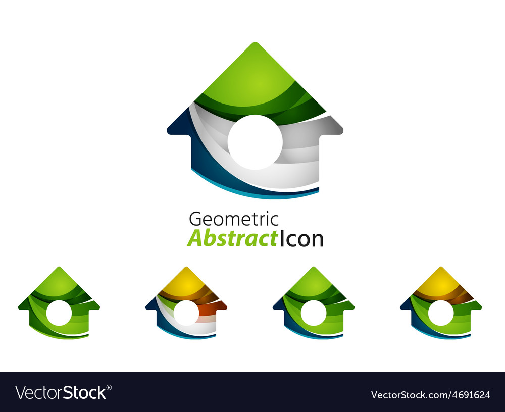 Set of abstract geometric company logo home house vector | Price: 1 Credit (USD $1)