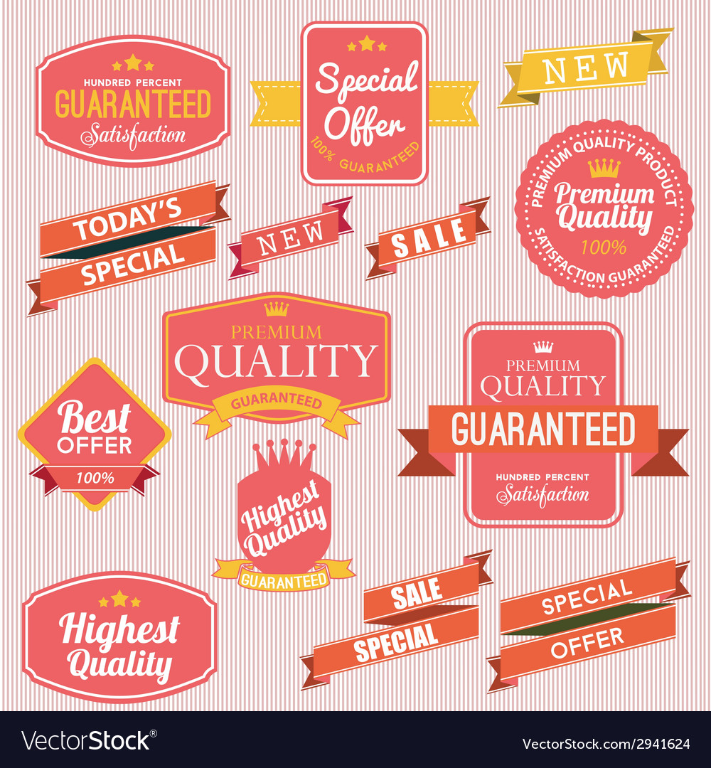 Set of stickers and ribbons vector | Price: 1 Credit (USD $1)