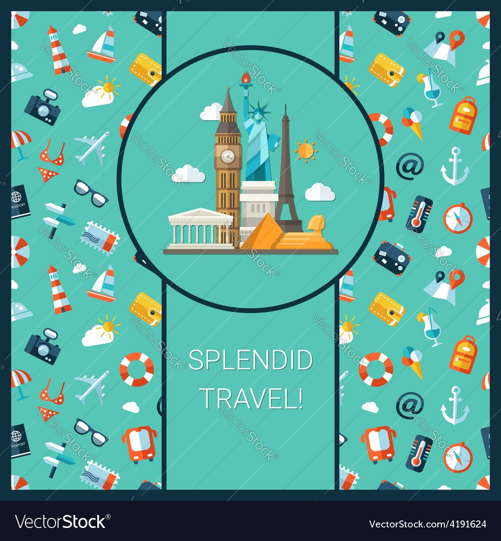 Travel flat design postcard with vector | Price: 1 Credit (USD $1)