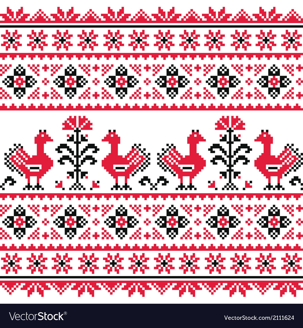 Ukrainian slavic folk knitted emboidery pattern vector | Price: 1 Credit (USD $1)