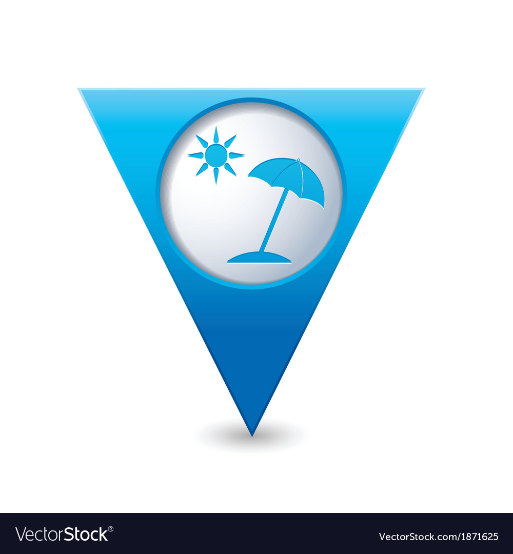 Beach icon map pointer blue vector | Price: 1 Credit (USD $1)