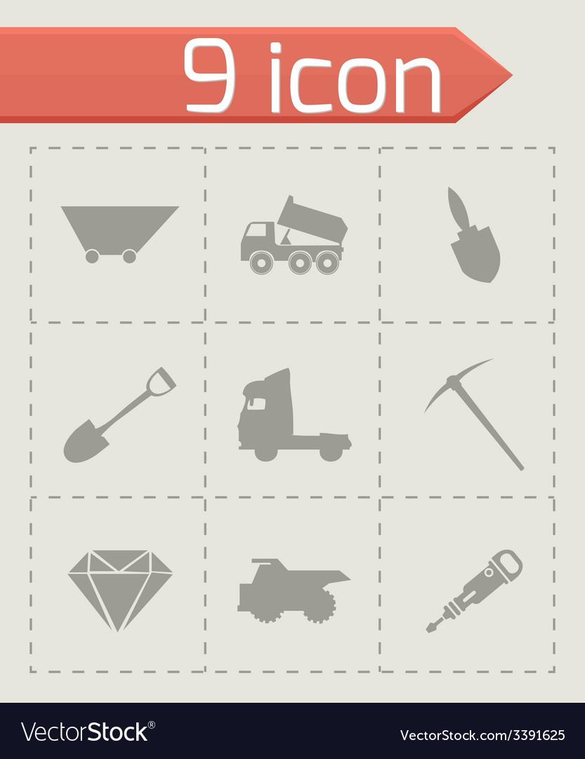 Black mining icons set vector   Price: 1 Credit (USD $1)