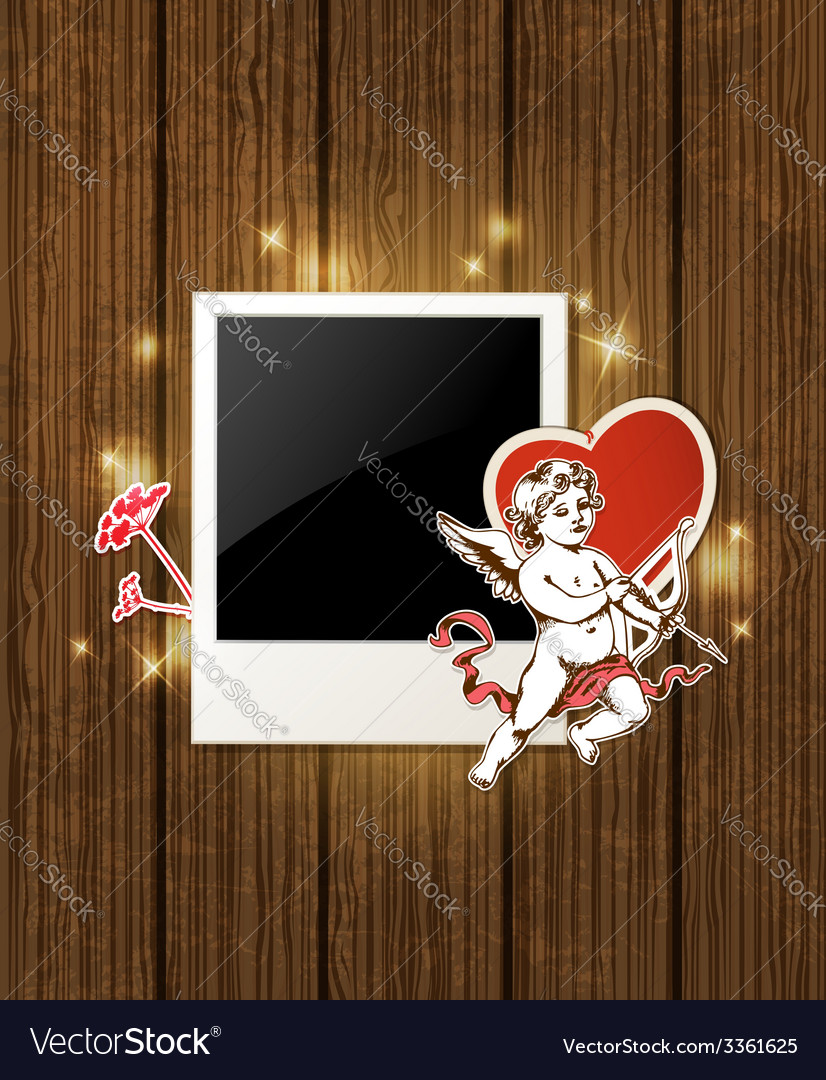 Decorative wooden background with photo and cupid vector | Price: 1 Credit (USD $1)