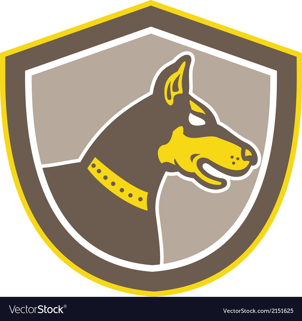 Doberman pinscher head shield retro vector | Price: 1 Credit (USD $1)