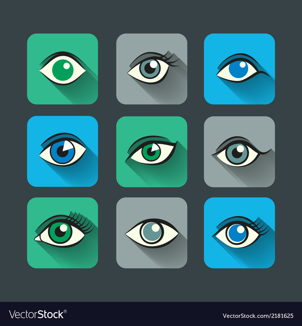 Eyes icons flat set vector | Price: 1 Credit (USD $1)