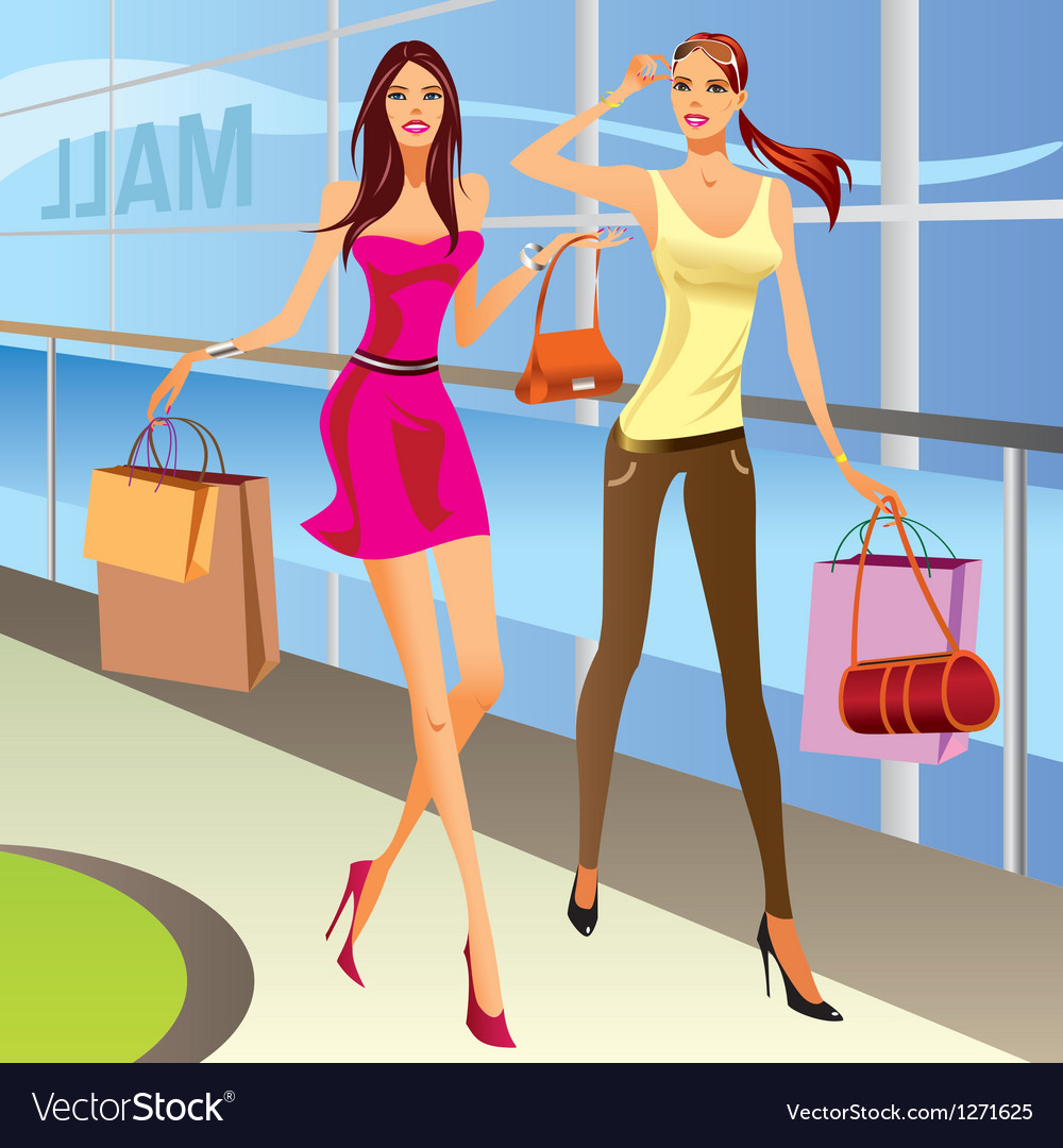 Fashion shopping girls with bags vector | Price: 3 Credit (USD $3)