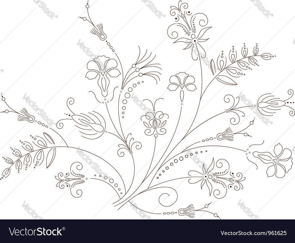 Floral ornament flower pattern vector | Price: 1 Credit (USD $1)